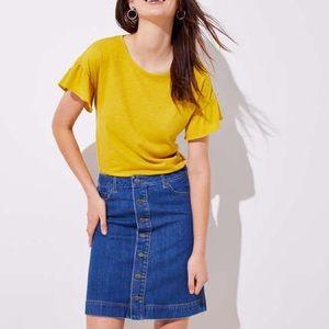 NEW! [ LOFT ] Button Down Front Denim Skirt
